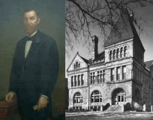 Portrait of James W. Scoville and the finished Scoville Institute.