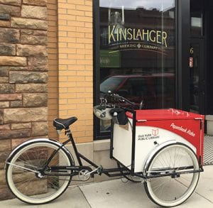 Book Bike outside Kinslahger Brewing Company