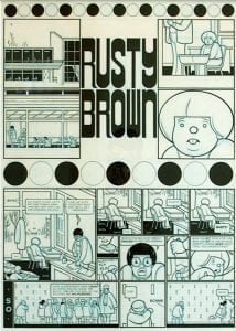 Rusty Brown: Where Will We Be in 2003, ink and blue pencil on illustration board by Chris Ware