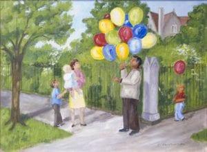 Balloon Man, oil on canvas by Glenna Butler