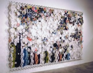 skip skitter start trip vault bounce - and other attempts at flight, wood, paper acrylic, and nylon by Jacob Hashimoto