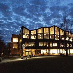 Oak Park Public Library Main Library exterior at dusk