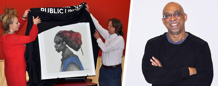 Oak Park Public Library staff Kelly Knowles and Jim Madigan unveil Rennie in Rhapsody (left) and Jesse Howard (right)