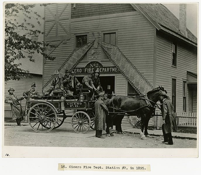 Cicero Fire Department Station #2 with horse drawn fire engine and firefighters, 1895