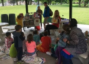 Pop-Up Library storytime in Maple Park