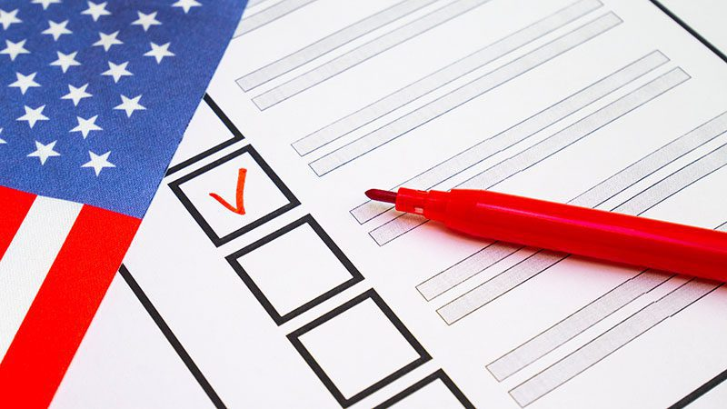 Ballot with flag