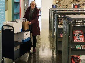 Library volunteer Susan Burke