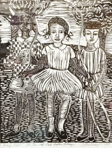 Jump Rope, linocut by Margaret Burroughs