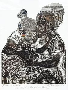Mother and Child, linocut by Margaret Burroughs