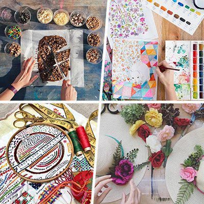 Projects from Creativebug: chocolate bark, painting, needlepoint, and decorating hats with flowers