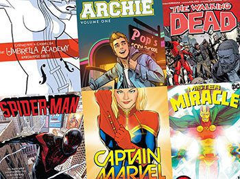 Comic book covers: The Umbrella Academy, Archie, The Walking Dead, Spider-Man, Captain Marvel, Mister Miracle