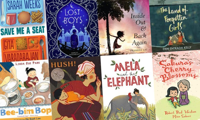 Book covers for Save Me a Seat by Sarah Weeks and Gita Varadarajan, Lost Boys by Darcey Rosenblatt, Inside Out & Back Again by Thanhha Lai, The Land of Forgotten Girls by Erin Entrada Kelly, Bee-bim bop! By Linda Sue Park, Hush! A Thai Lullaby by Minfong Ho, Sakura's Cherry Blossoms by Robert Paul Weston, Mela and the Elephant by Dow Phumiruk
