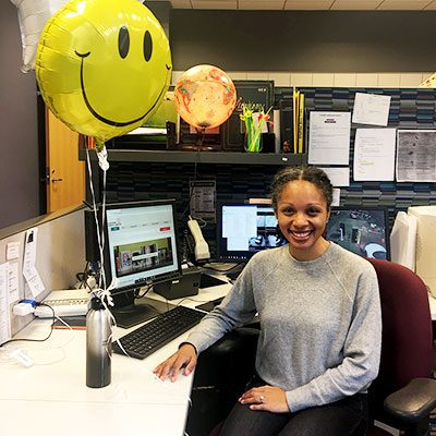 Tatiana at the desk