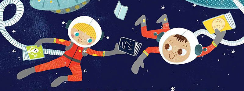 Kids reading in space