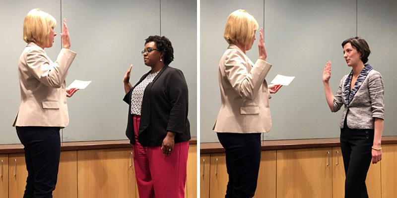 Virginia Bloom-Scheirer and Colleen Burns Swearing In