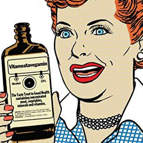 Cartoon depiction of Lucille Ball holding a Vitameatavegamin bottle