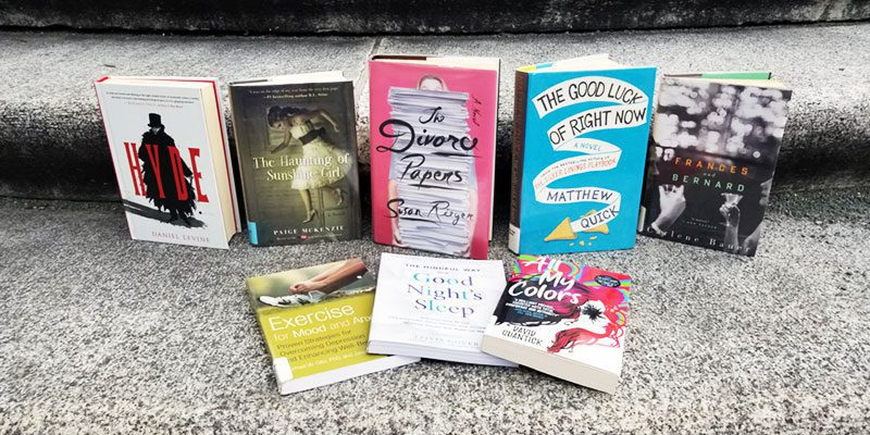 Book covers for Hyde by Daniel Levine, The Haunting of Sunshine Girl by Paige McKenzie, The Divorce Paper by Susan Rieger, The Good Luck of Right Now by Matthew Quick, Frances and Bernard by Carlene Bauer, Exercise for Mood and Anxiety by Michael W. Otto, The Mindful Way for a Good Night's Sleep by Trivia Cover, All My Colors by David Quantick