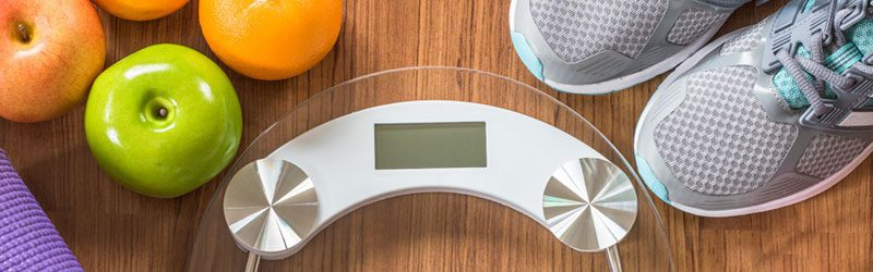 Scale, fruit, and workout equipment