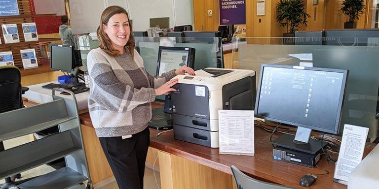 Librarian Bridget at tax station