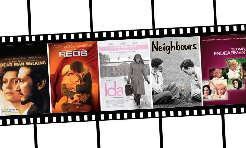 Film covers for Dead Man Walking, Reds, Ida, Neighbours, and Terms of Endearment
