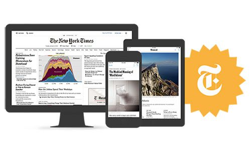 The New York Times on a monitor, smartphone, and tablet, with logo