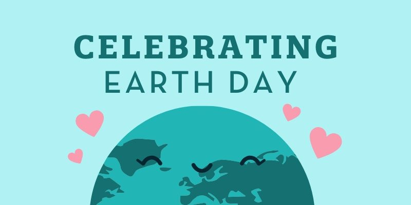 Celebrating Earth Day with smiling Earth and hearts