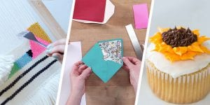 Collage of weaving, envelope making, and a cupcake