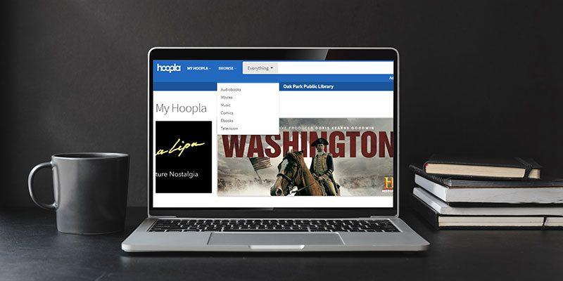 Hoopla on laptop screen