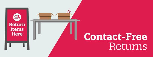 Contact-Free Returns with return items here sign and table with a book in a box