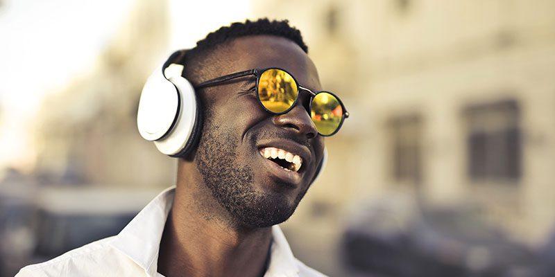 Person using headphones