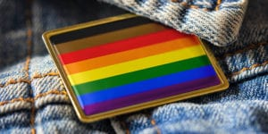 Pride flag button on jacket