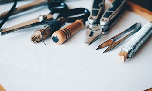 Crafting tools on blank paper