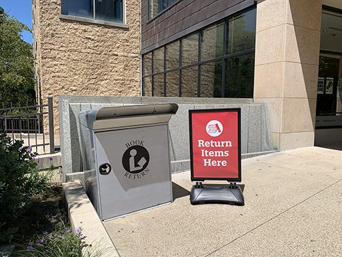 Book drop outside the Main Library
