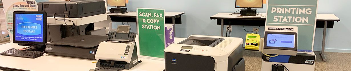 Print, Scan, Fax, Copy Station on Main Library Third Floor