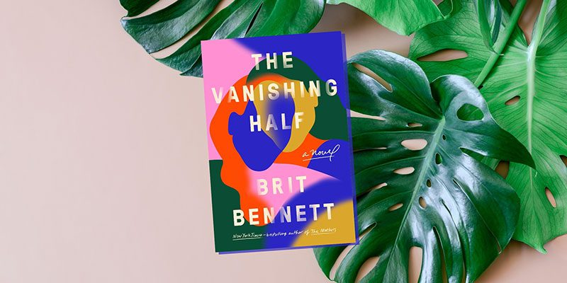 The Vanishing Half book cover with leaf background