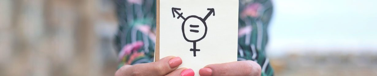 Transgender symbol drawn in notebook