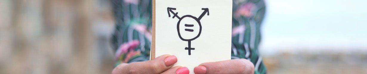 Transgender symbol drawn in notebook