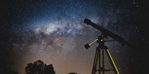 Telescope looking at the night sky