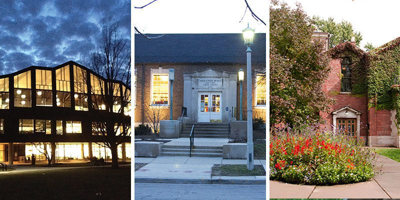 Collage of Main Library, Maze Library, Dole Library