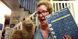 Miss Jenny and Ruthie the Camel playing Roll-A-Story Pronouns
