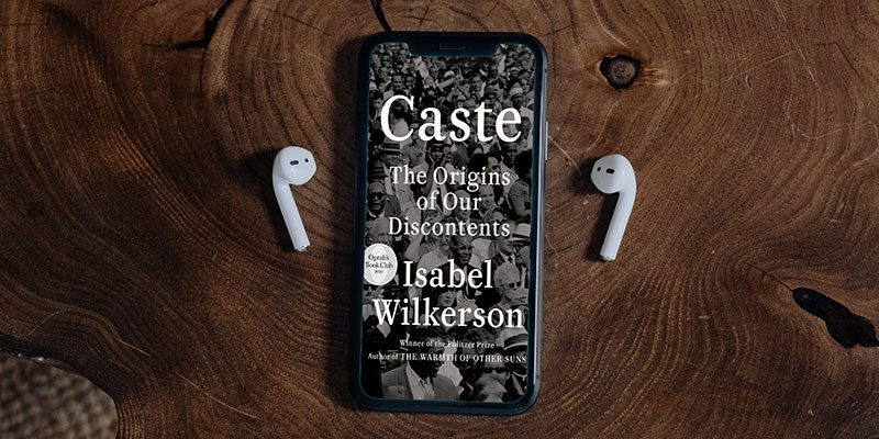 Caste book cover on a phone screen