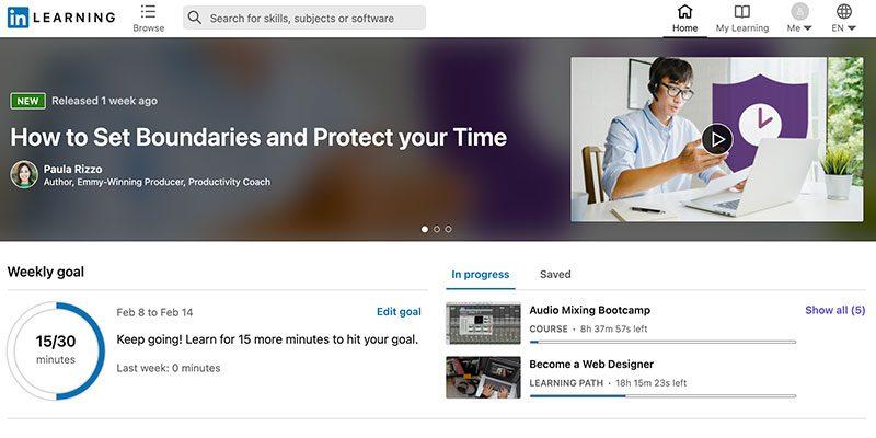 LinkedIn Learning Home Screen