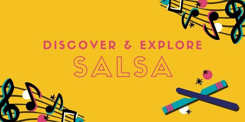 Discover & Explore: Salsa with music notes and la clave