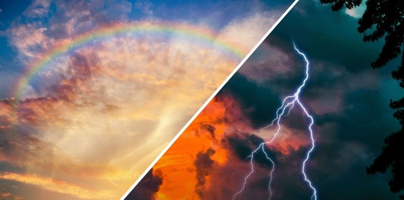 A rainbow in the sky and lightning at sunset