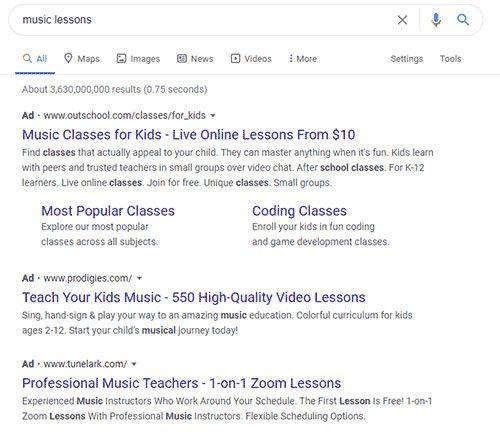 Google Ad Example 1