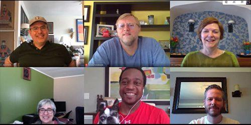 Library leadership team on virtual meeting