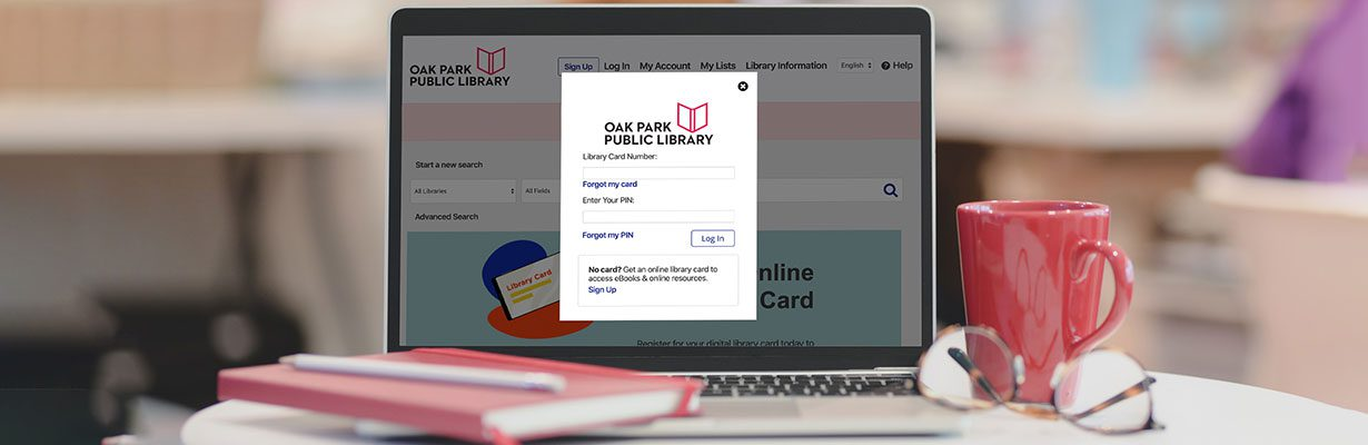 Library catalog on laptop