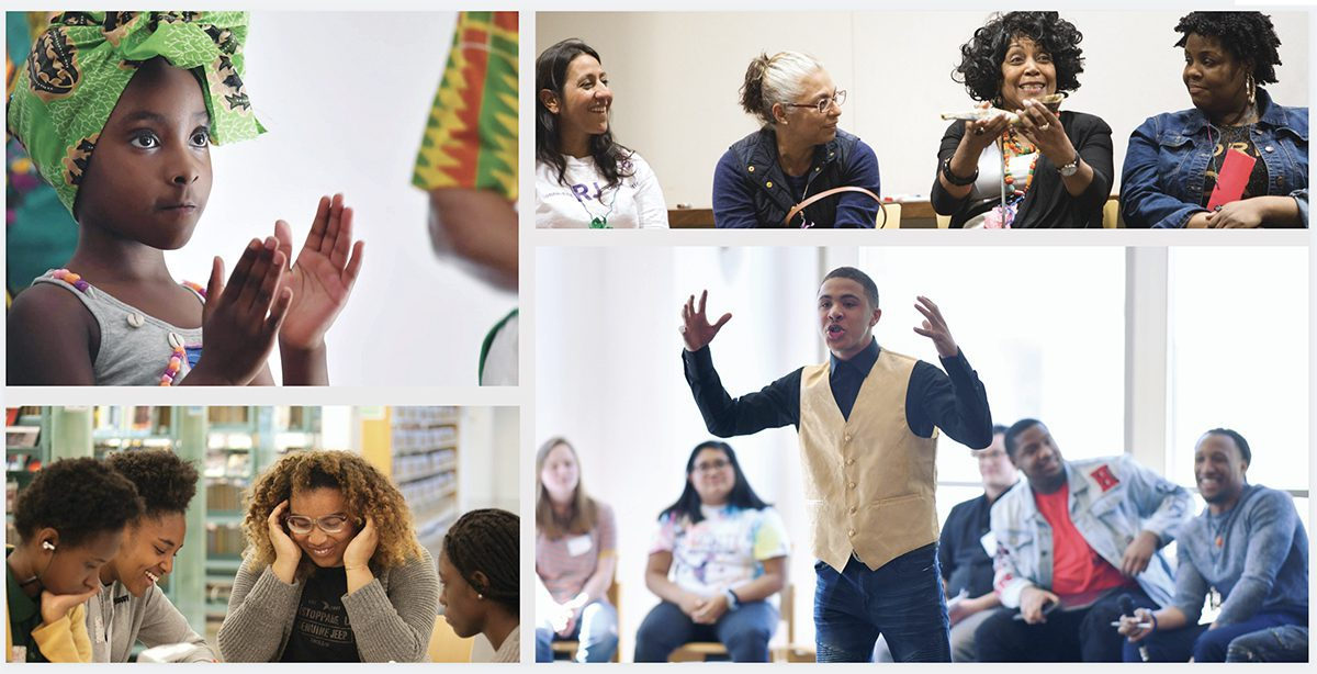 All photos taken at the Main Library. From top left, clockwise: Community Kwanzaa Celebration in 2019 (photo by Paul Goyette). Community members in a peace circle at the Restorative Community Practices Conference in 2019 (photo by Tina Harle). Speaker at the Youth Social Justice Conference in 2019 (photo by Paul Goyette). Teens organizing the 2018 Restorative Justice Conference (photo by Tina Harle).