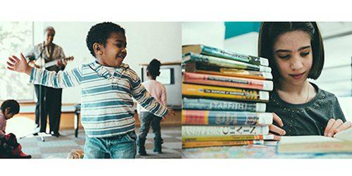 Child dancing, child reading