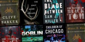 Book covers splattered with blood